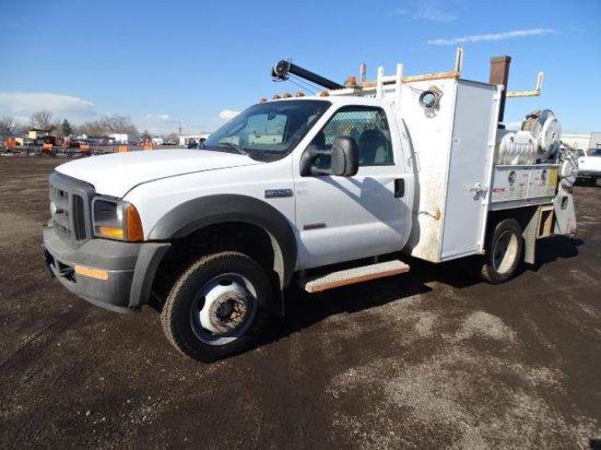2005 FORD F550 XL 4x4 Super Duty Service Truck, Power Stroke V8 Turbo Diesel, Automatic, PTO,