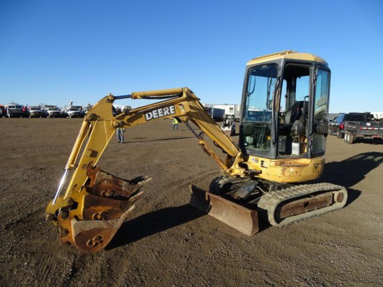 2002 John Deere 27ZTS Mini Excavator, Enclosed Cab w/ Heat, 12in Rubber Tracks, 60in Backfill Blade,