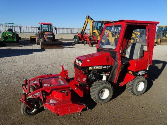 2011 Steiner 430-21D 4WD Tractor, Kubota 3-Cylinder Diesel, 60in Front Deck Mower, 60in Snow Plow,