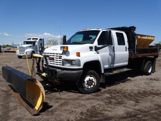 2005 GMC C5500 S/A 4x4 Dump Truck, Duramax Diesel, Automatic, Crew Cab, 11' Dump Box, Swenson