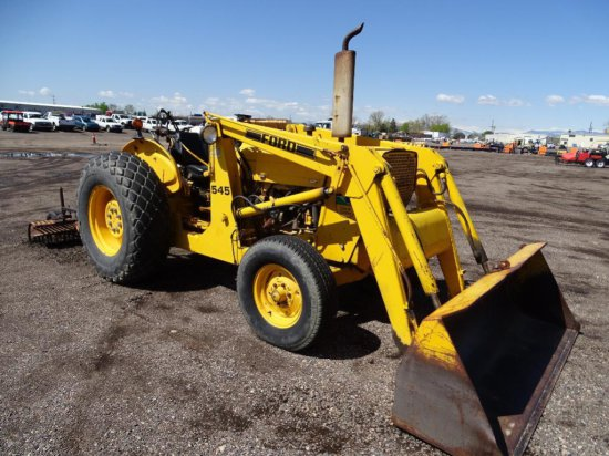 Ford 545 Tractor/Loader, PTO, 3-Pt, Gas Engine, York 8' Rake Attachment, City Unit, Hour Meter