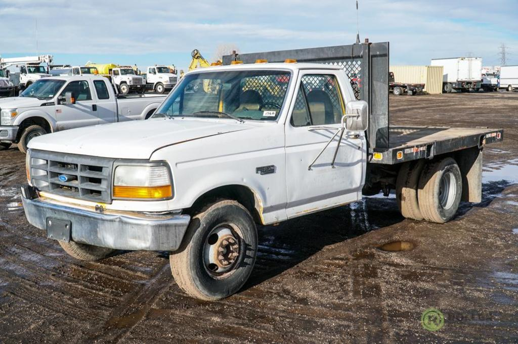 1997 Ford F350 Xl Flatbed Truck 5 8l Automatic 9 Bed Dually Odometer Reads 132 257 Commercial Trucks Hauling Transport Trucks Flatbed Trucks Online Auctions Proxibid