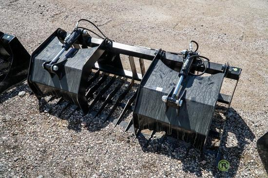 New Stout 74in Rock & Brush Grapple w/ 4in Spacing To Fit Skid Steer Loader