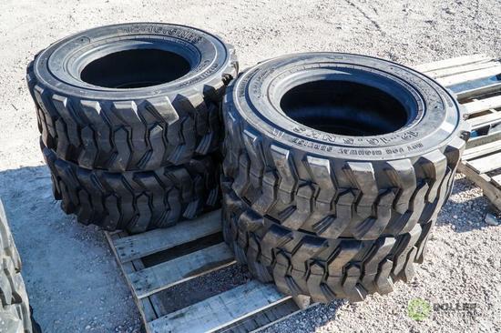 (4) New Loadmax 12-16.5 Skid Steer Tires, Model SKS332
