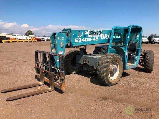 Gradall 534D9-45 Telescopic Forklift, 9000 LB Capacity, 45' Reach, 3-Stage Boom, John Deere Diesel,
