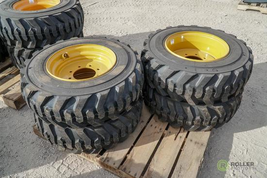 (4) New Turbo 10-16.5 Skid Steer Tires w/ Wheels