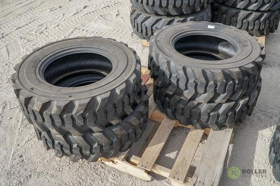 (4) New Turbo 10-16.5 Skid Steer Tires, Model SKS332