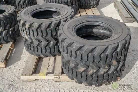 (4) New Turbo 12-16.5 Skid Steer Tires, Model SKS332