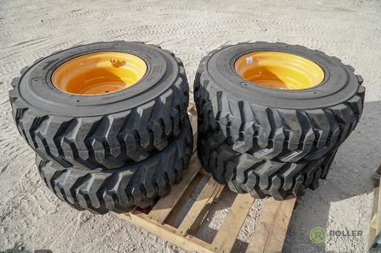 (4) New Turbo 12-16.5 Skid Steer Tires w/ Wheels