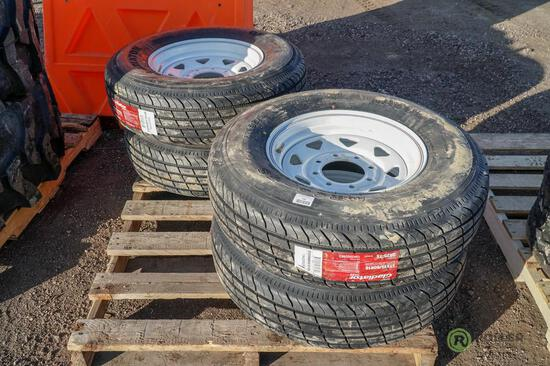 (4) New ST235/80R16 Radial Trailer Tires w/ Wheels