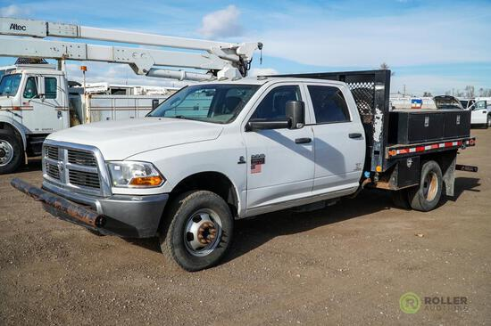 2011 DODGE 3500 Heavy Duty 4x4 Crew Cab Flatbed Truck, Cummins Turbo Diesel, Automatic, Dually, 9'