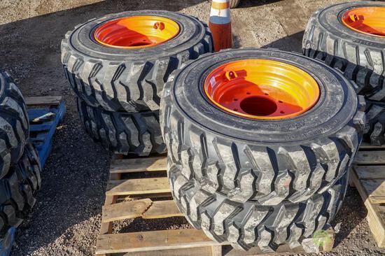 (4) New Loadmax 12-16.5 Skid Steer Tires w/ Wheels