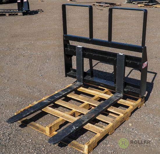 New Kival 48in Pallet Fork Attachment To Fit Skid Steer Loader, 4200 LB Capacity, Step Thru Frame