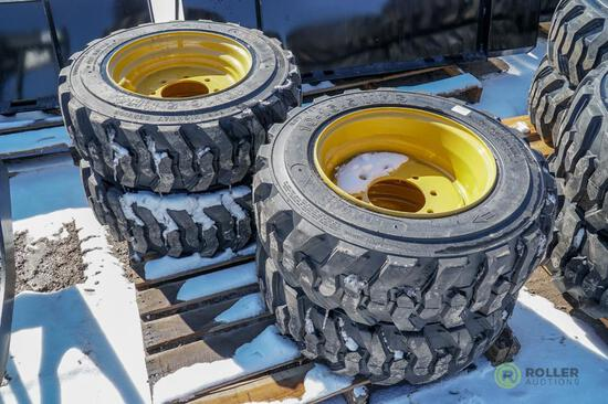 (4) New Loadmaxx 10-16.5 Skid Steer Tires w/ Rims