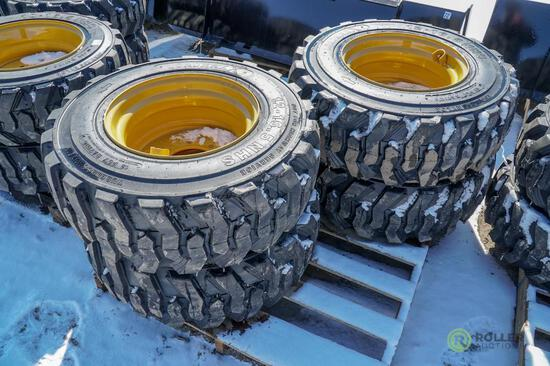 (4) New Loadmaxx 12-16.5 Skid Steer Tires w/ Rims