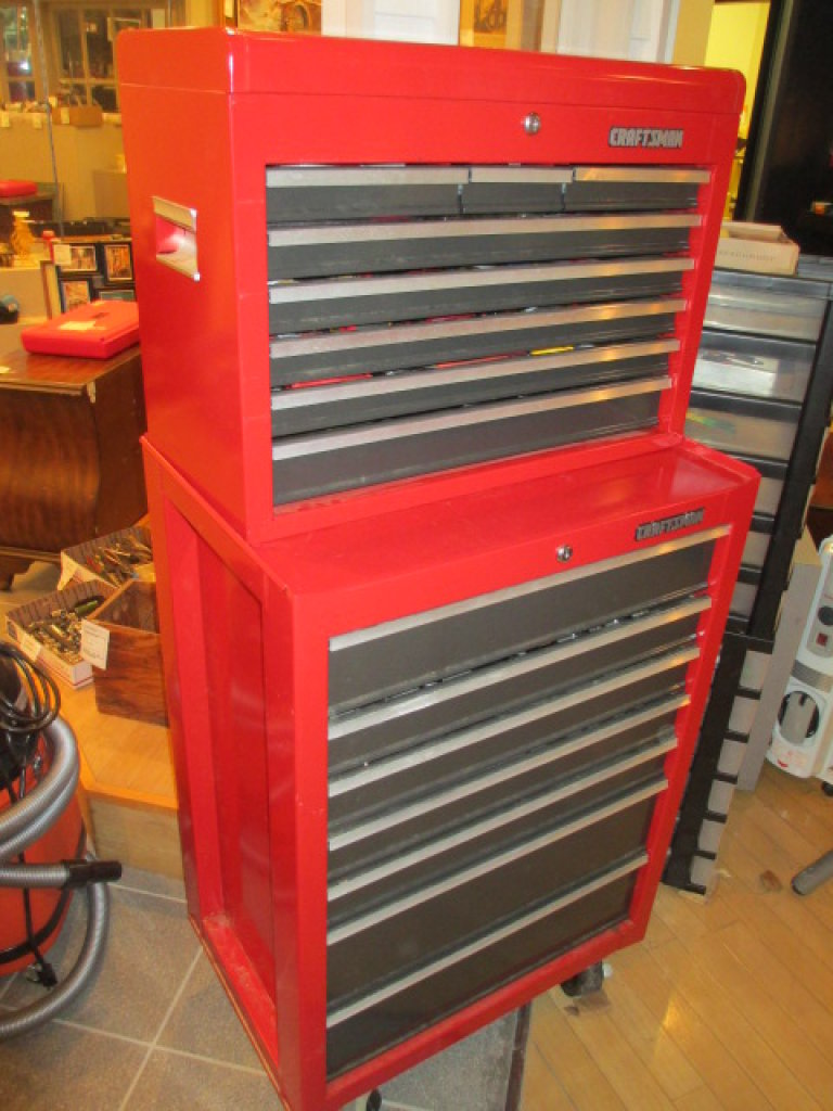 2 Piece Stacking 15 Drawer Roll-A-Way Craftsman Tool Box  -> Will not be Shipped! <-  con 181