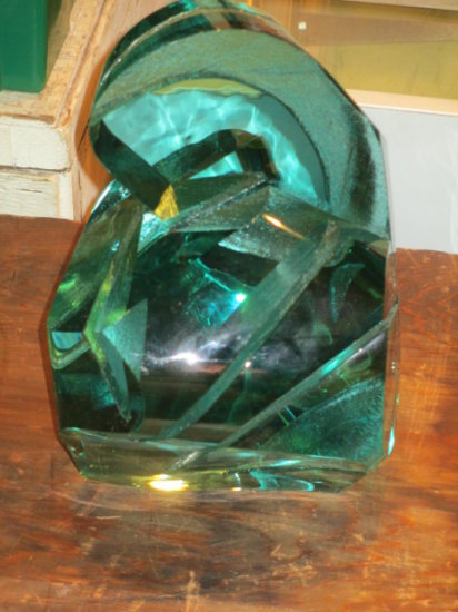 26 LB Heavy Art Glass Piece Signed Ramon Orlina 11x9x8 inch Insurance required for shipping con 454