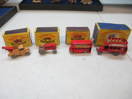 4 A Moko Lesney Matchbox Cars boxes have some damage con 317