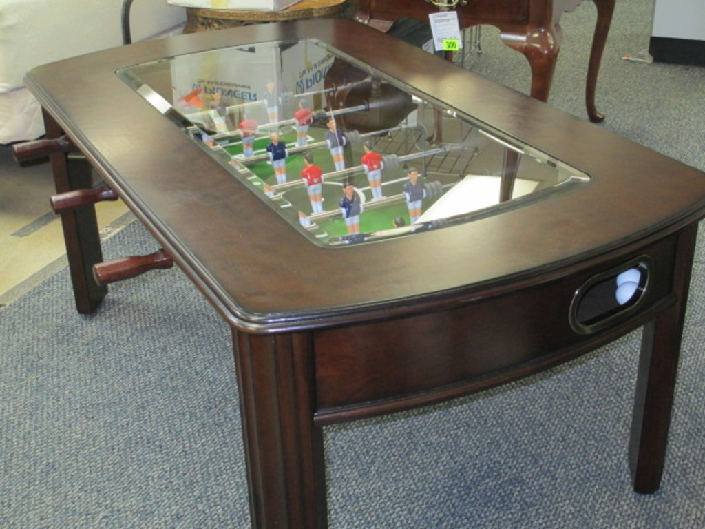 - Playable Foosball Coffee Table With Balls 48x28x20 Glass Top Will