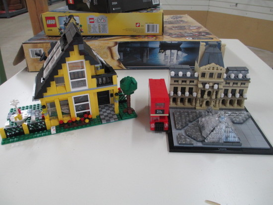 Four Lego Sets Put together includes boxes