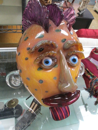 """Art Glass Bust Not Signed Possibly Murano Glass- 14""""x12"""" - Aprox 15lb - Will not be shipped -con 317"""