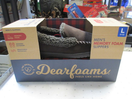 New Dearfoams Memory Foam Men's Slipper - Size L 11-12 - con 1