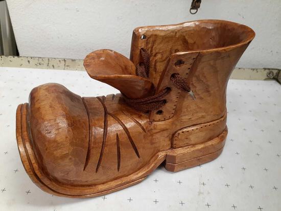 Vintage Hand-Carved Wood Boot - Signed BK - con 672