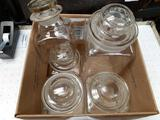 5 Vintage Ground Glass Canisters - Will not be shipped - con 672