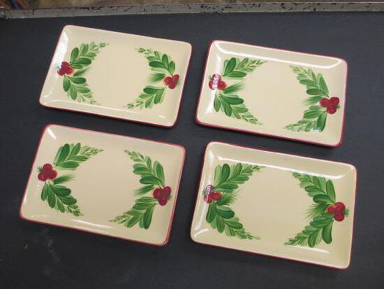 """Set of 4 Southern Living Gail Pittman Xmas Memories Appetizer Plates 8""""x5""""-Will NOT be Shipped-con 1"""