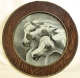 C.1900's B&W original circular framed horses litho