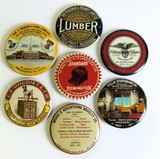 Collection of 7 original adv. paper weight mirrors