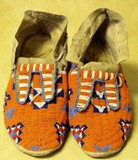One pair early Northern Plains beaded moccasins