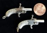 Functioning miniature silver box lock pistol pair