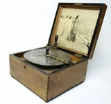 Antique table top Victorian music disc player