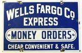 An original Wells Fargo & Co. Express enamel sign