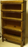 C. 1900's four stack oak barristers bookcase