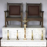 Oak and marble shoe shine stand