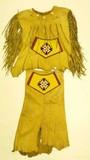 Early 19th C. beaded and fringed buckskin dress