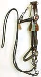 Hitched horsehair headstall with flat cheek bands