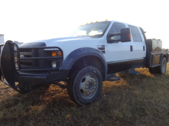 2008 FORD F450 XL WHITE,SUPERDUTY,6.4 POWERSTROKE,AUTO,FLATBED,DUALLY,TOOLB