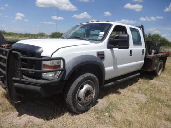 2008 FORD F450 XL WHITE,6.4 POWERSTROKE,SUPERDUTY,4DR,FLATBED,DUALLY,SIDEBO