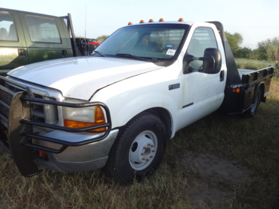 2000 FORD F350 WHITE,7.3 POWERSTROKE,SUPERDUTY,6SP MAN,SINGLE CAB,FLATBED,D