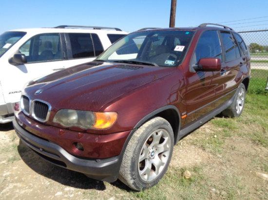 2001 BMW X5 MAROON,AUTO,3.0GAS,4DR,LUXURY SUV VIN/SN:WBAFA53501LM63720 MILE