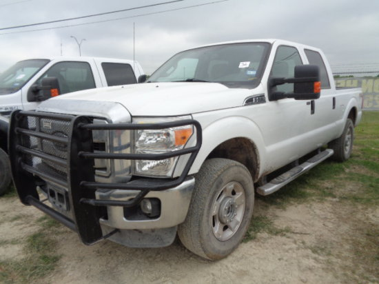 2014 FORD F250 XLT WHITE,AUTO,GAS 6.2,4 DOOR,4WD,SHORT WIDE,TRUCK, PW/PL/CD