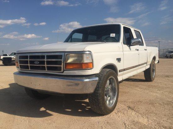 1997 FORD F250 WHITE,7.3L,AUTO,4DR,CREW CAB,STEEL REAR BUMPER,GOOSE NECK HI