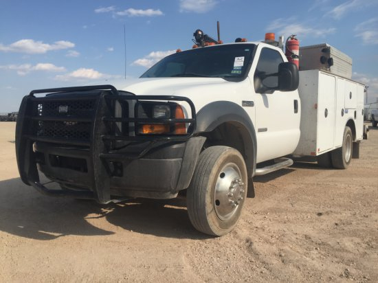 2007 FORD F450 WHITE,POWERSTROKE V8,AUTOMATIC,UTILITY BOX,TOWING/TRAILER BR