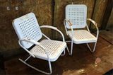Vintage White Metal Chairs 1 Rocks 1 Fixed