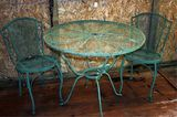 Green Vintage Wrought Iron Table & 2 Chairs