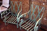 Vintage Green Metal Lawn Chairs