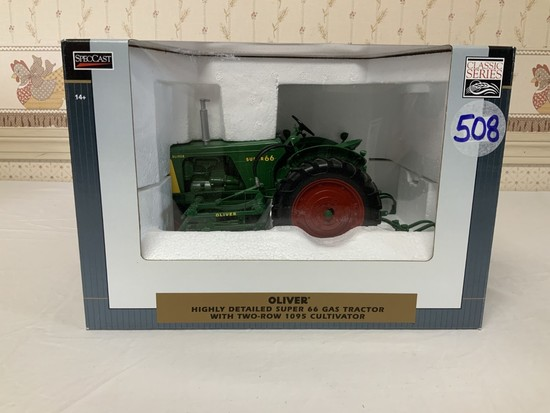 Oliver Super 66 Gas w/ 2 Row 1095 Cultivator 1/16th Scale